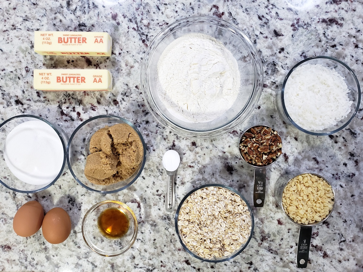 Ingredients to make cookies on a counter top.