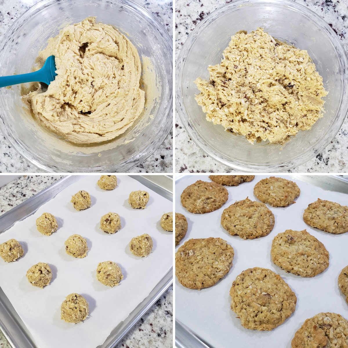 Mixing cookie dough and scooping onto a baking sheet.