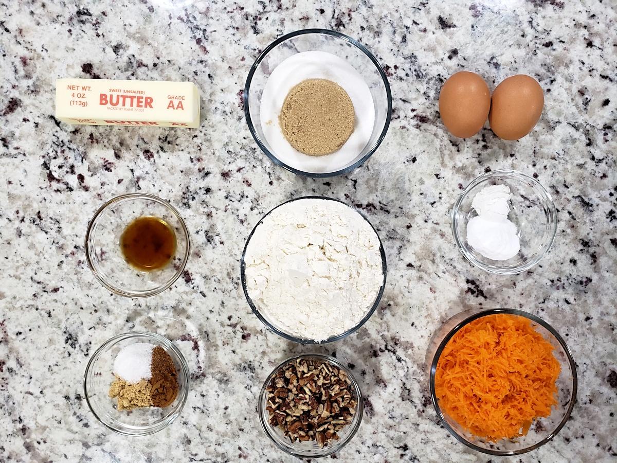 Ingredients to make carrot cake whoopie pies.