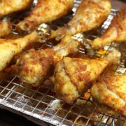 Chicken drumsticks with a crispy, seasoned coating