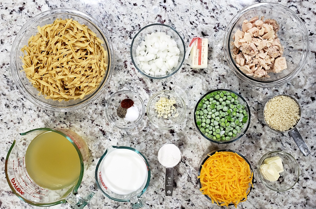 Ingredients to make a tuna casserole.