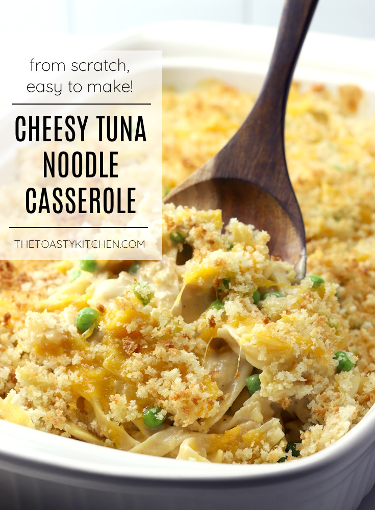 Cheesy tuna noodle casserole recipe.
