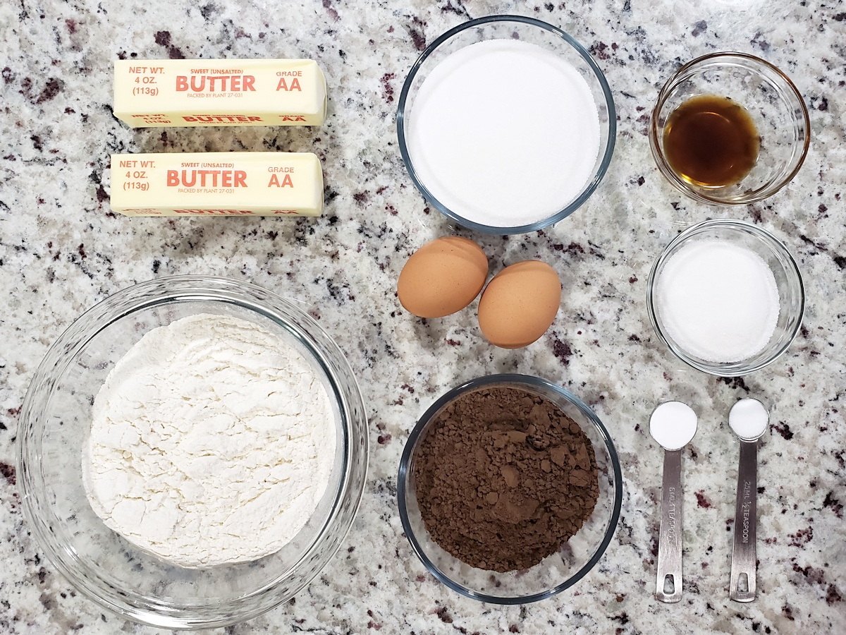 Ingredients to make dutch cocoa cookies.