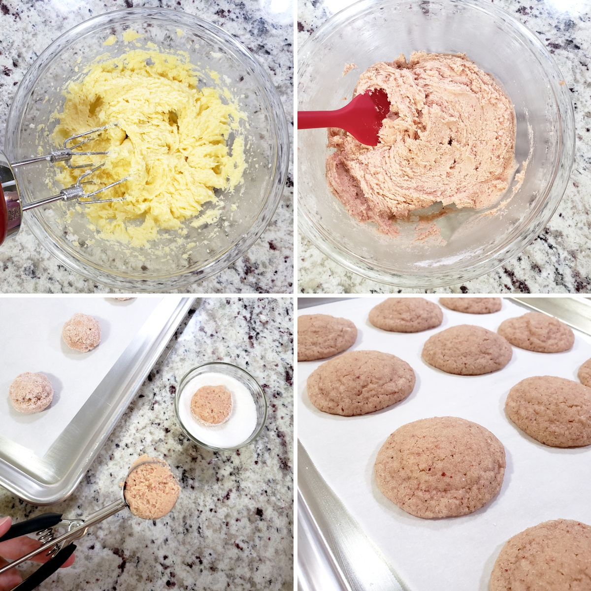 Mixing and baking strawberry cookies.