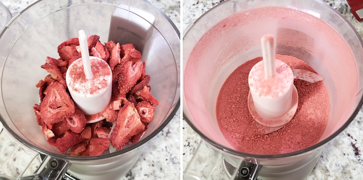 Grinding freeze-dried strawberries in a food processor.