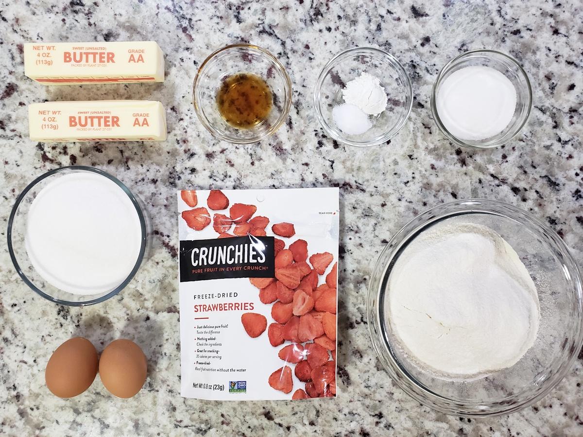 Ingredients to make strawberry sugar cookies.