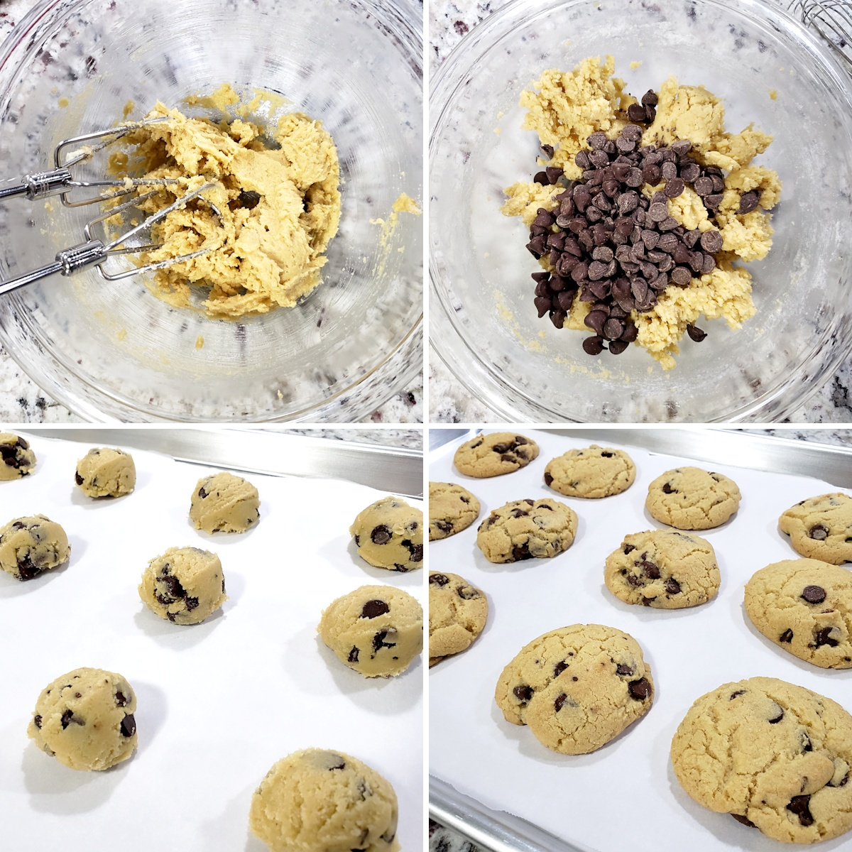 Mixing dough and baking cookies on a baking sheet.