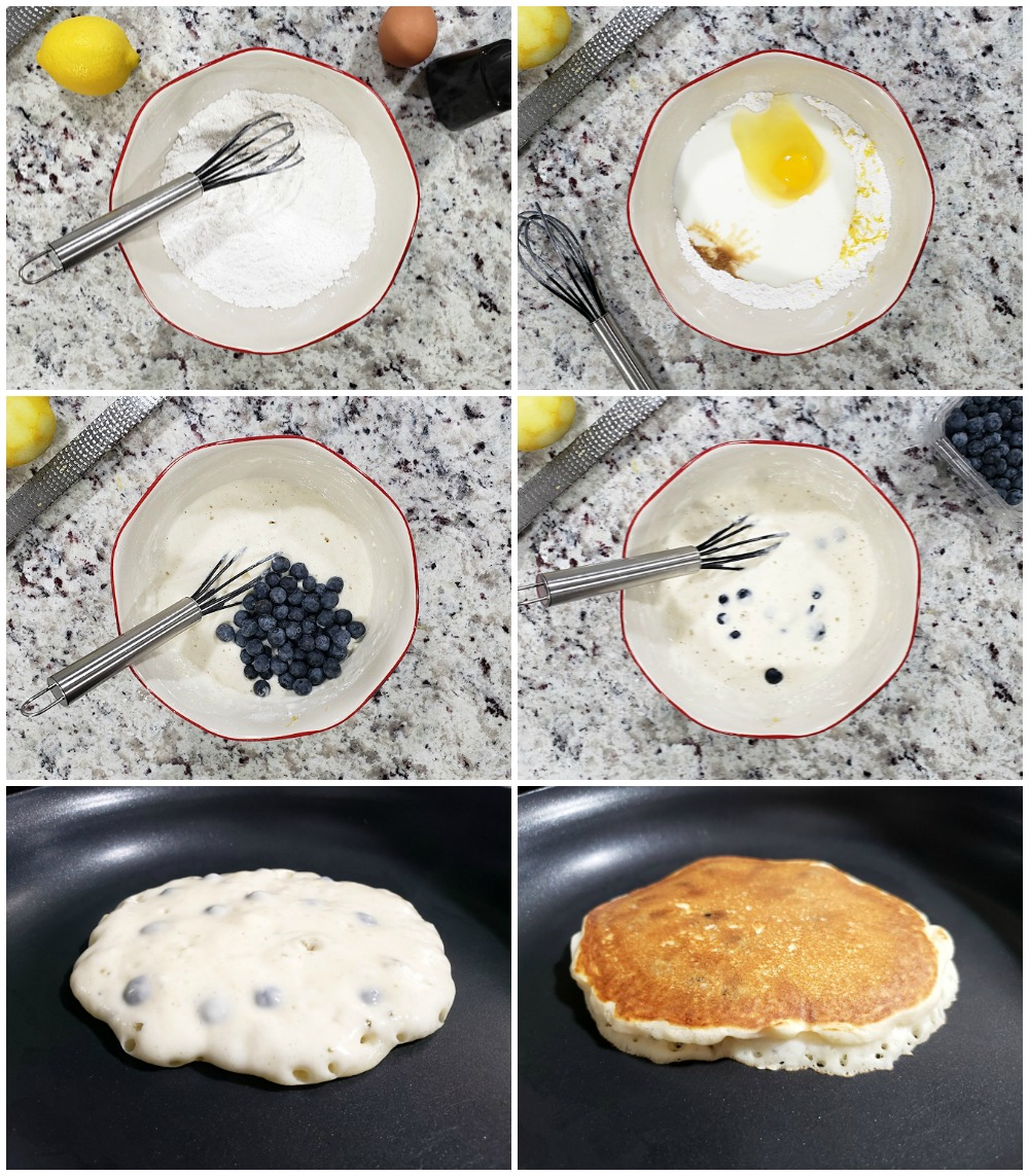 Step by step process of making blueberry pancakes.