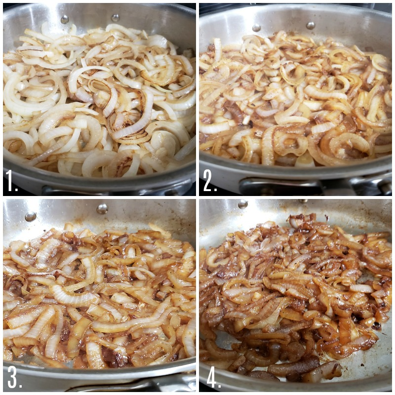 Onions caramelizing in a pan over time.