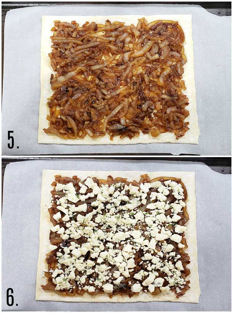 Adding onions and cheese to a sheet of puff pastry.