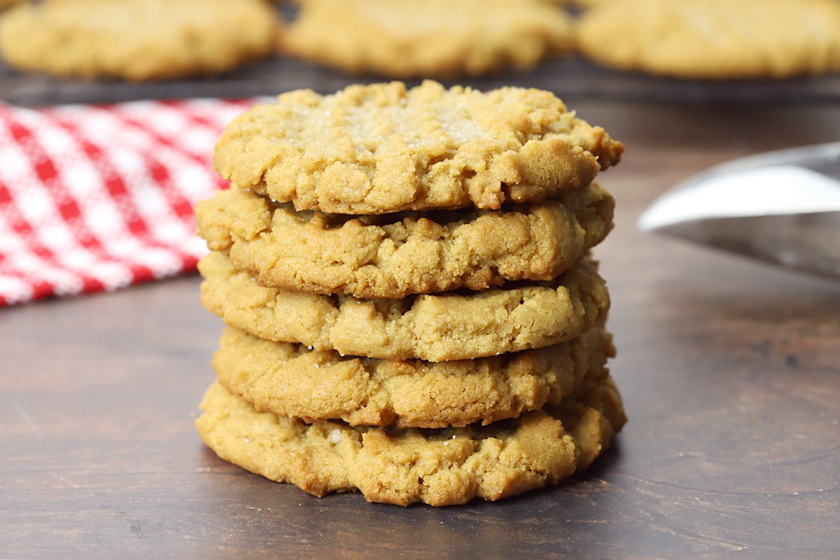 A stack of flourless peanut butter cookies.