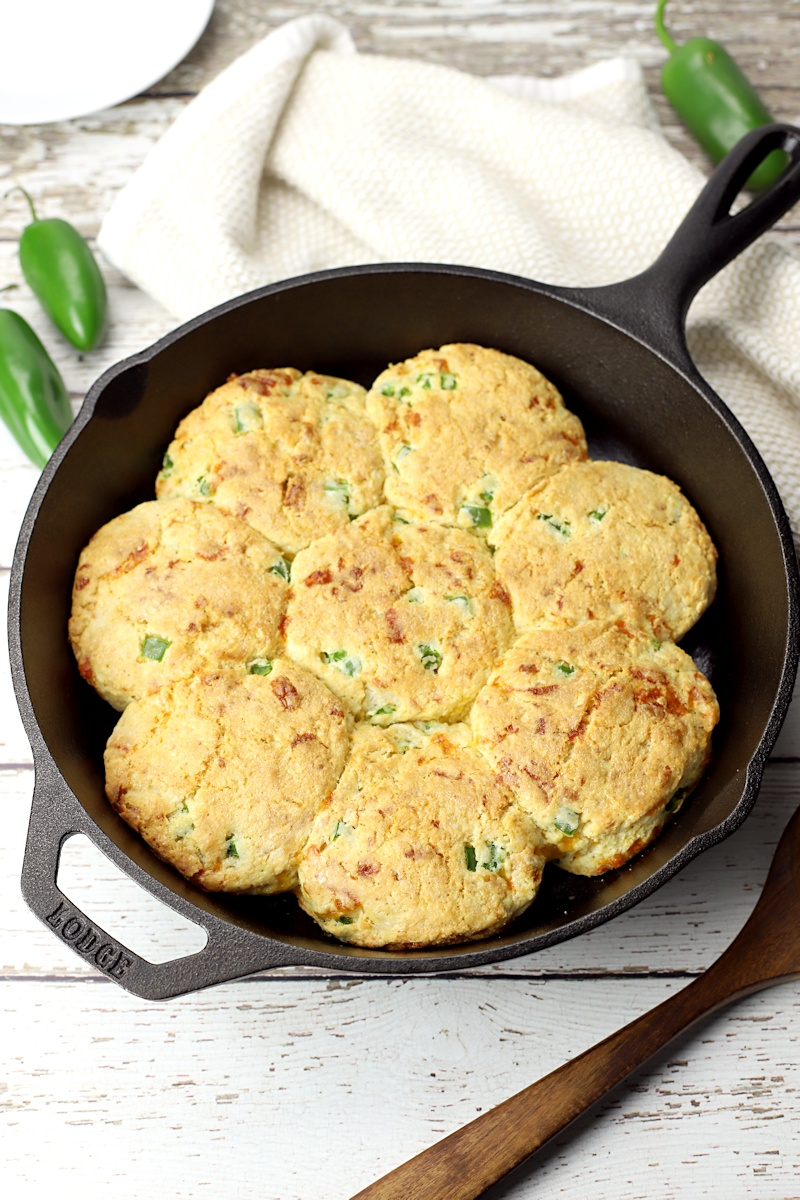 Cornmeal biscuits in a cast iron skillet.