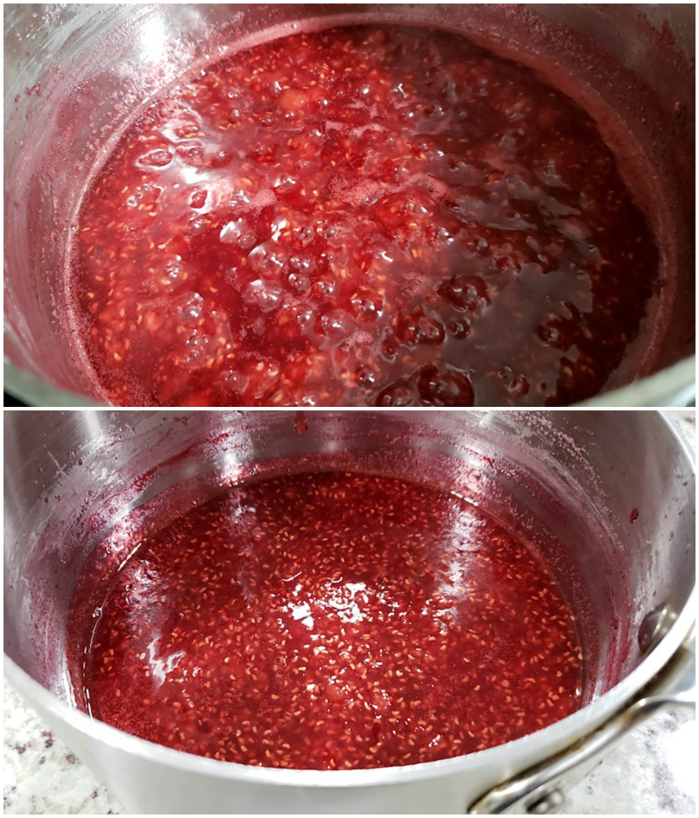 Cooking freezer jam in a saucepan.