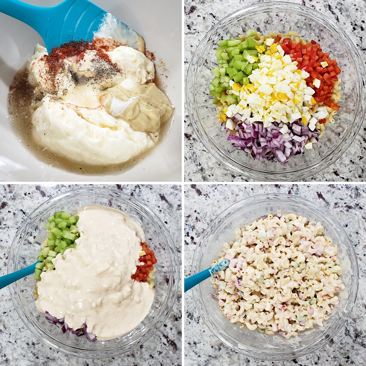 Mixing ingredients in a glass bowl.