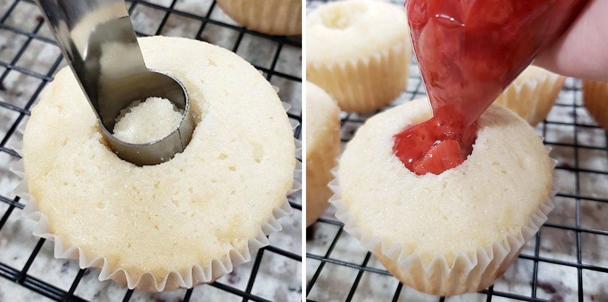 Coring and filling a cupcake.