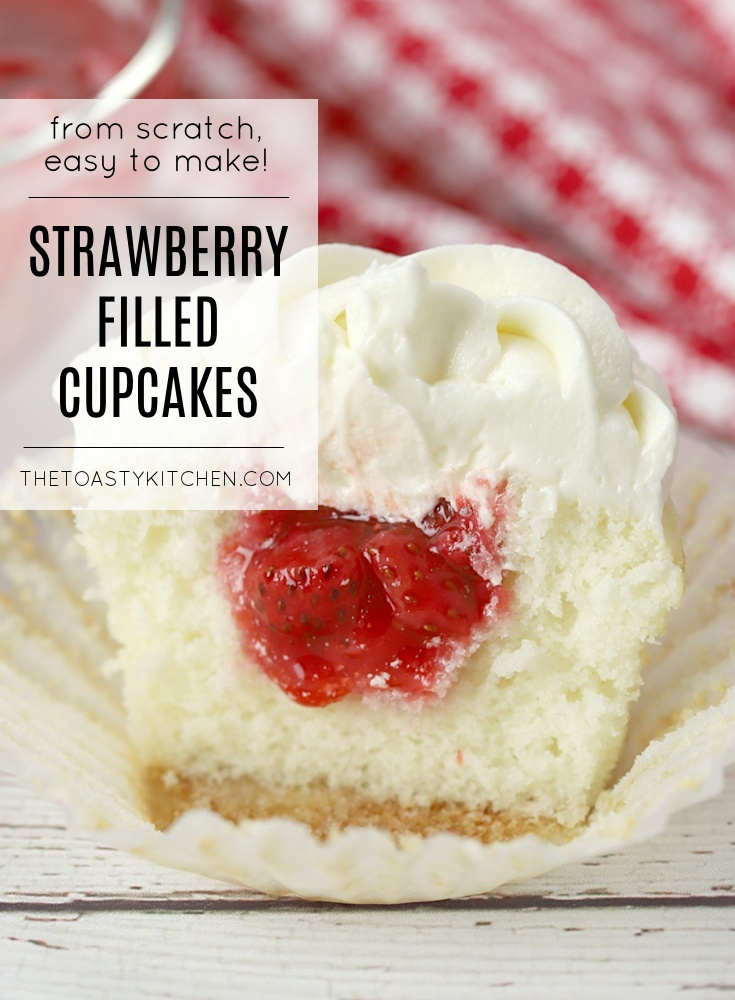 Strawberry Filled Cupcakes by The Toasty Kitchen