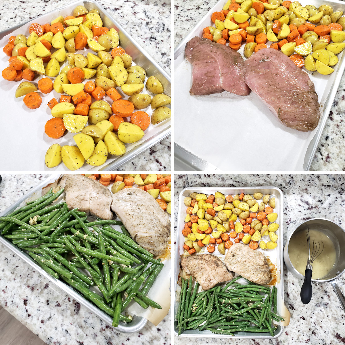 Assembling turkey tenderloin and vegetables on a sheet pan.