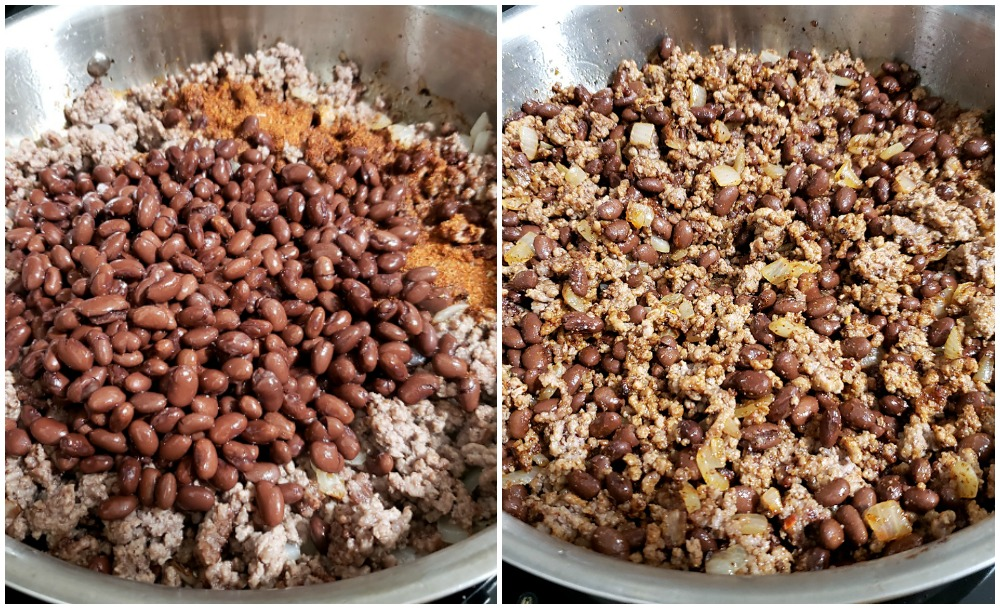 Ground beef and beans in a saute pan.