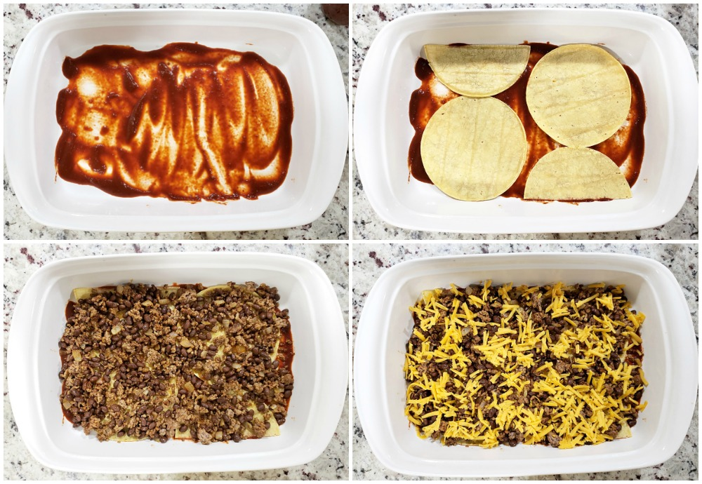 Layering a beef enchilada casserole in a dish.