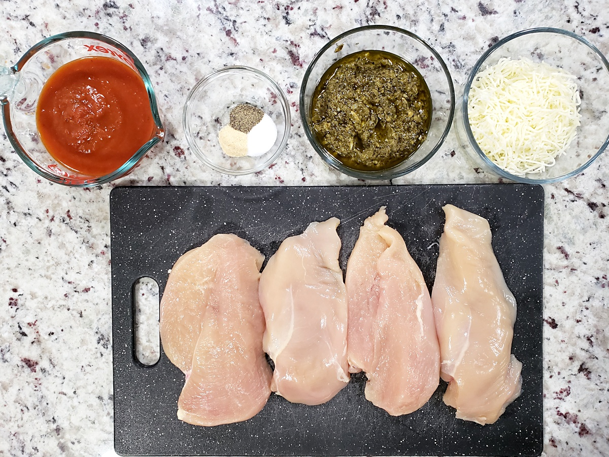 Ingredients for pesto mozzarella chicken.