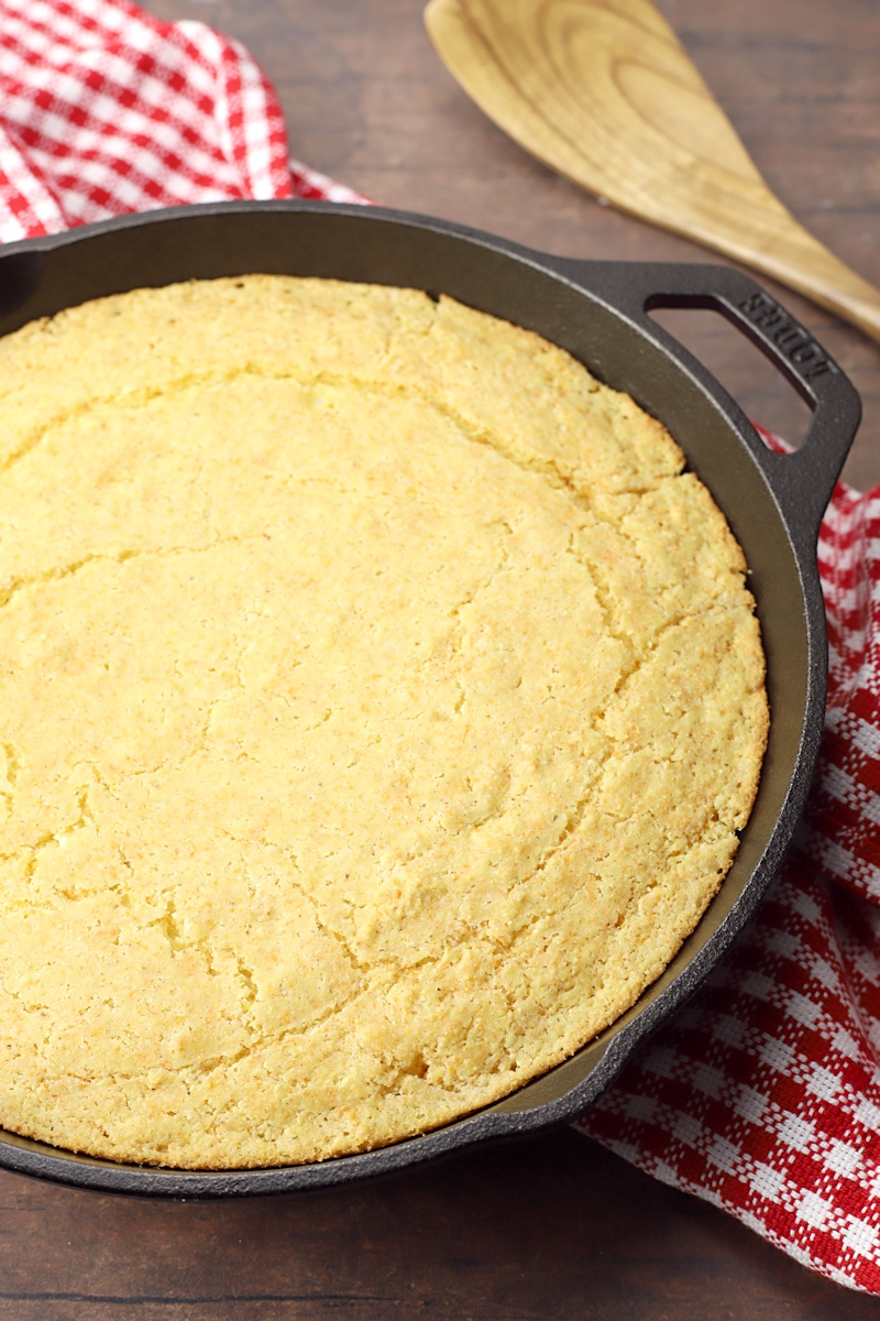 Cornbread in a cast iron skillet.