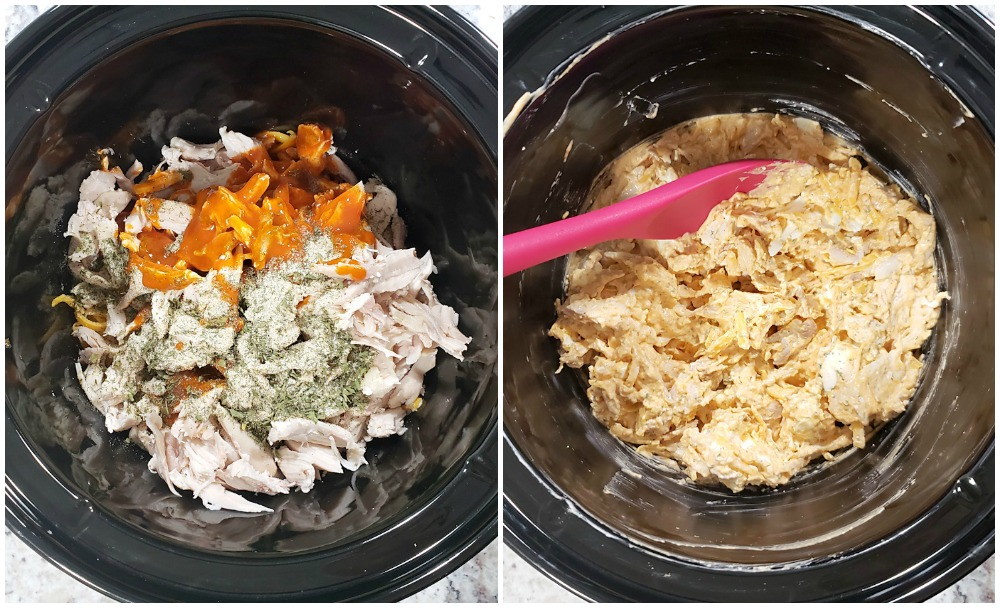 Adding chicken and other ingredients to a slow cooker.