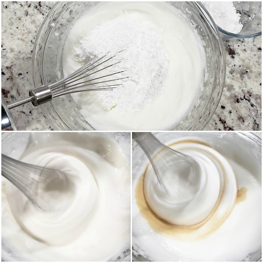 Whipping egg whites and adding sugar to make a meringue.