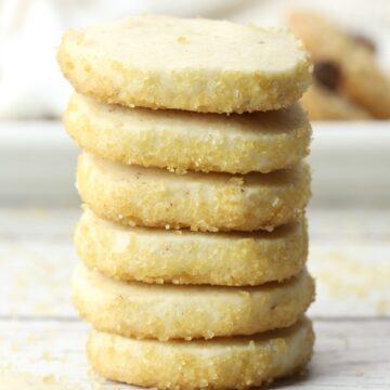 Stack of shortbread cookies.