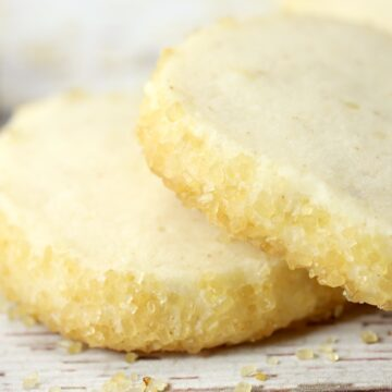 Turbinado sugar on edges of shortbread cookies.