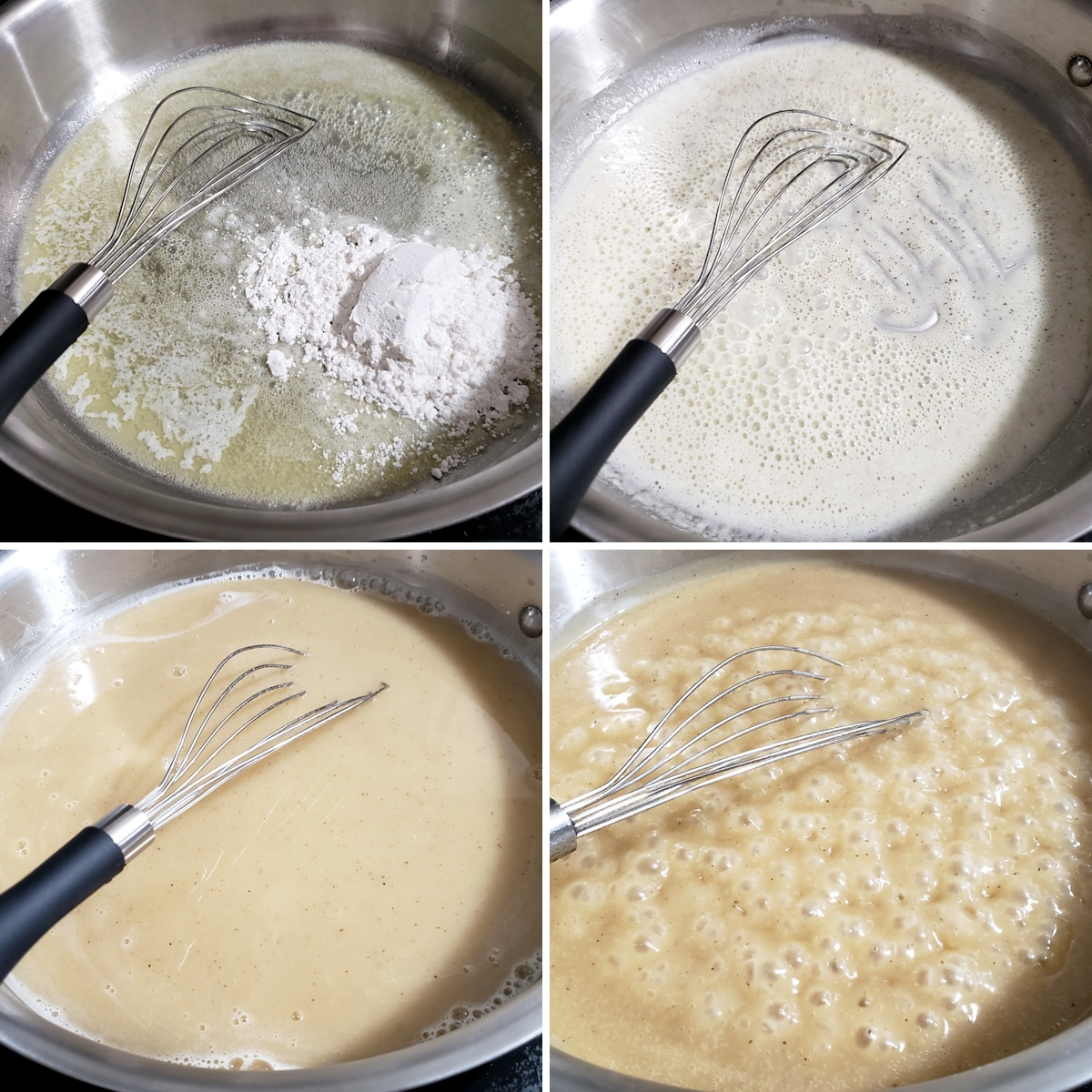 Whisking gravy in a pan on the stove top.