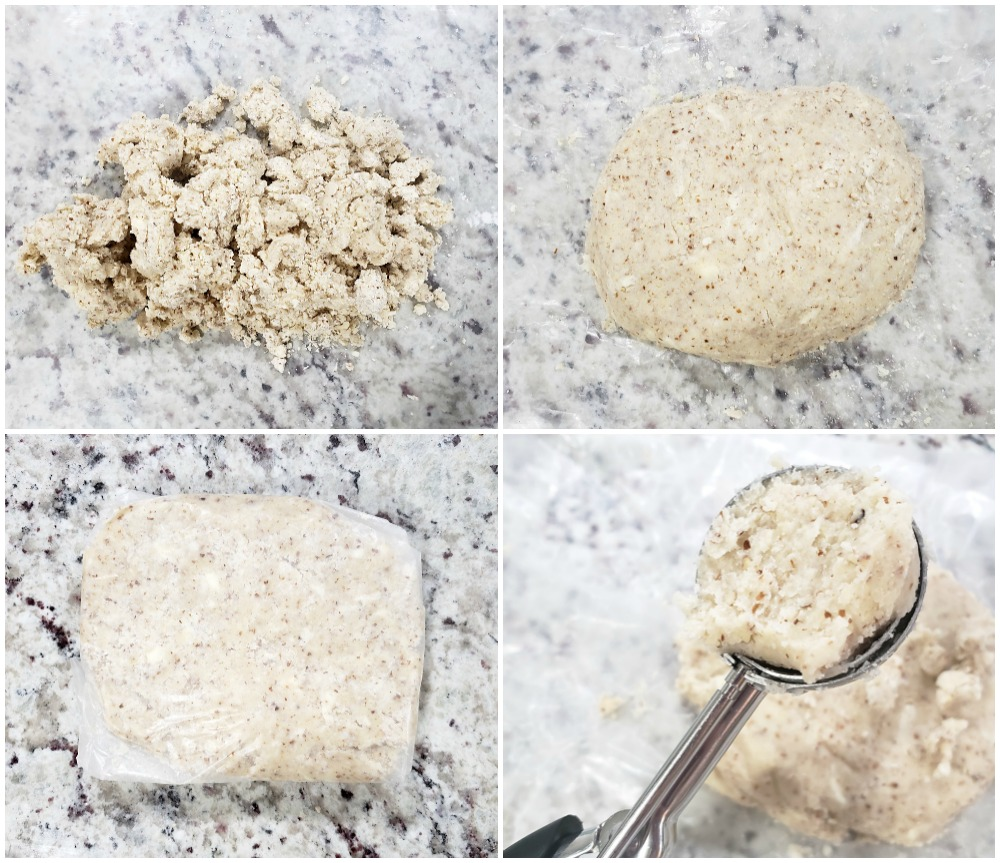 Shaping almond cookie dough into a disc to refrigerate.