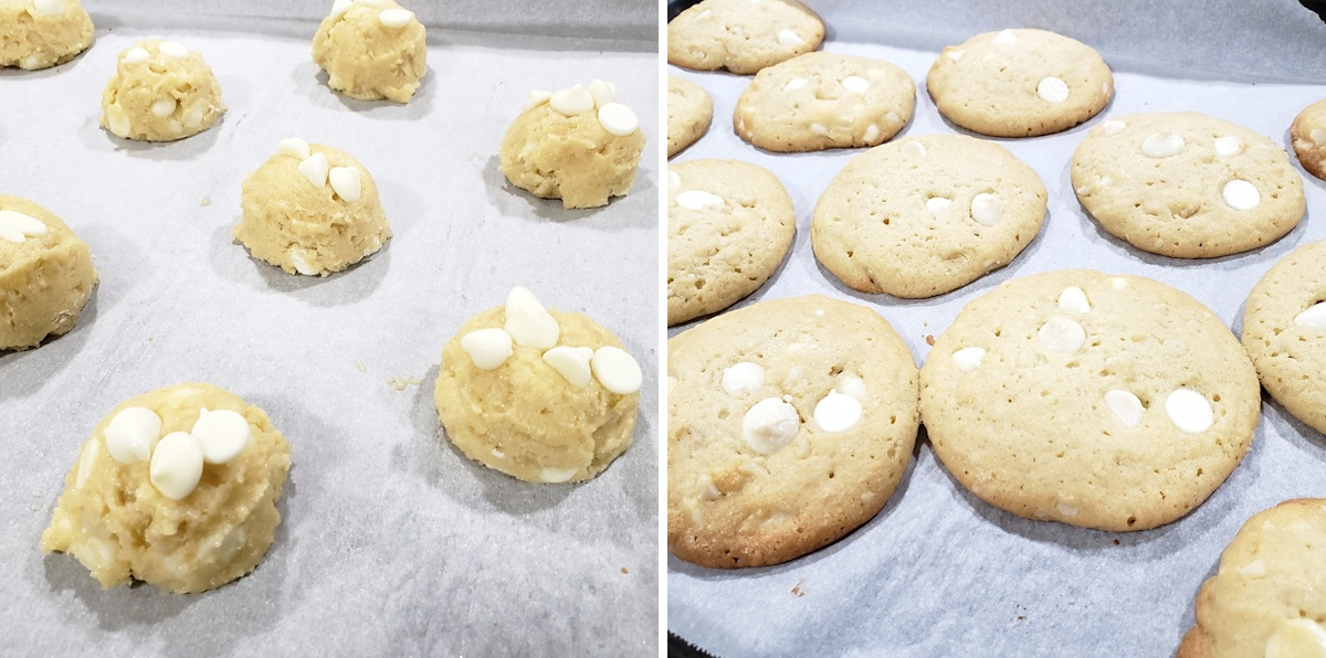 Cookie dough on a baking sheet before and after baking.