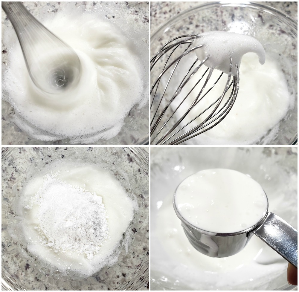 Whipping egg whites to make a meringue.