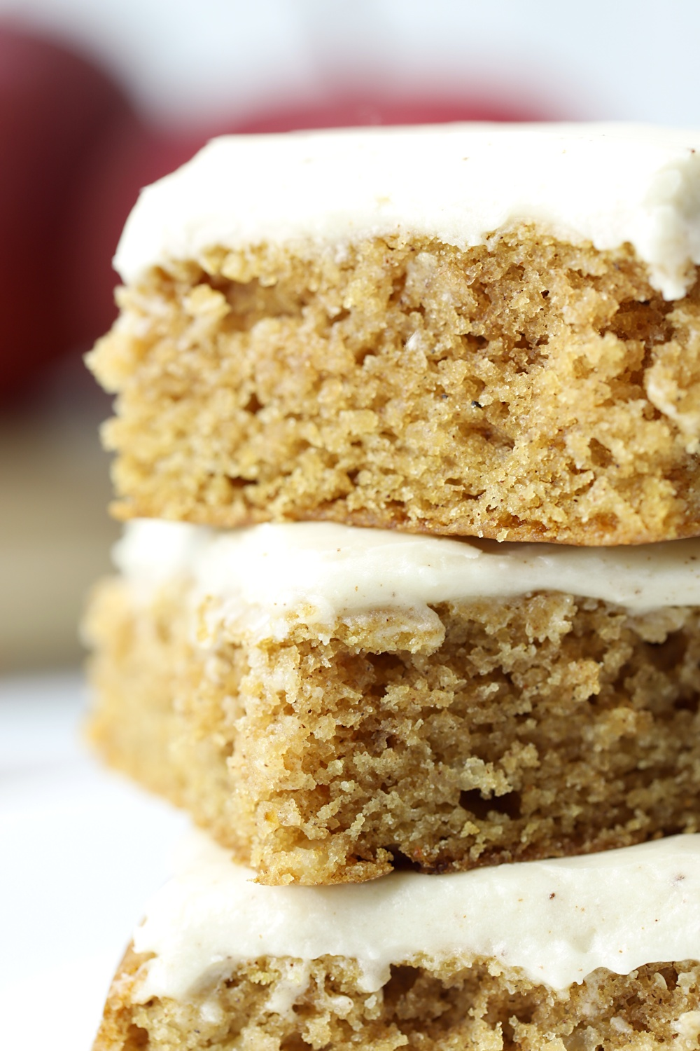 Close up of cakey texture of applesauce bars.
