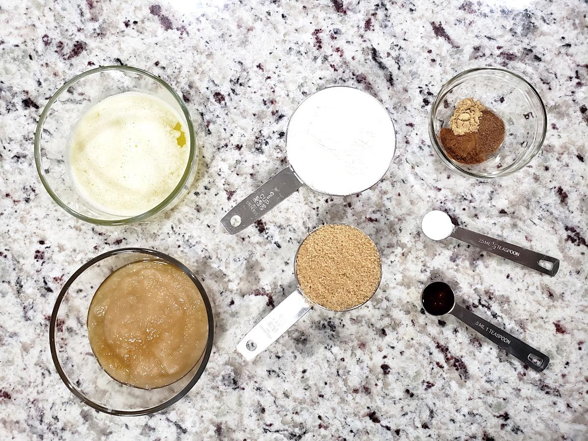 Ingredients prepared to make applesauce bars.