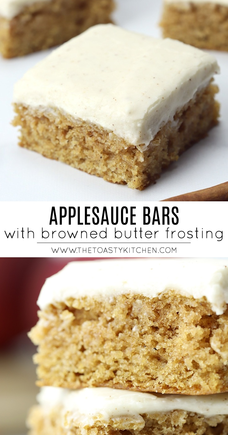 Applesauce Bars with Browned Butter Frosting by The Toasty Kitchen