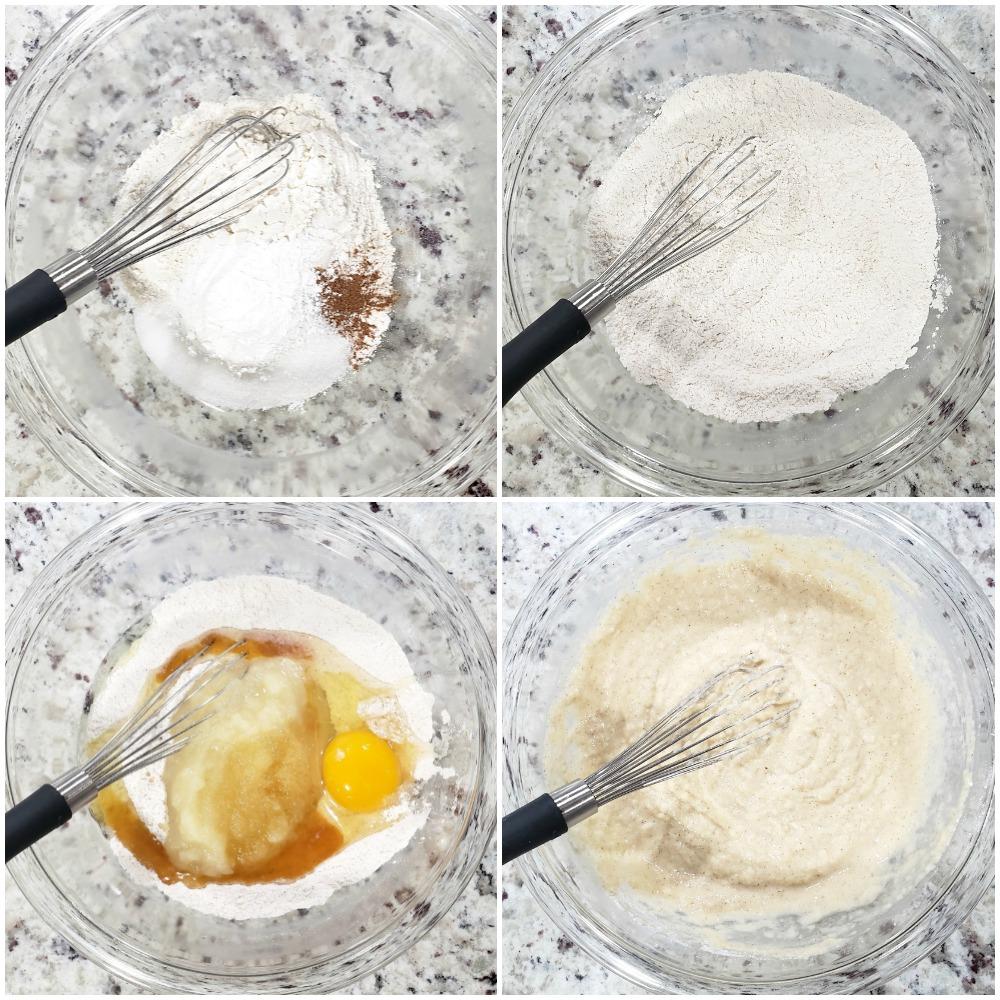 Mixing pancake batter in a glass bowl.