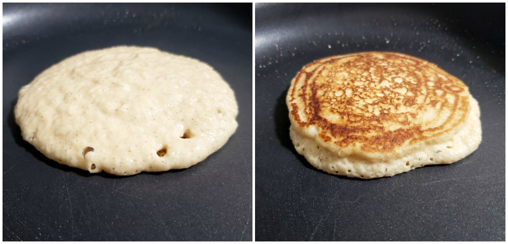 A pancake before and after flipping in a pan.