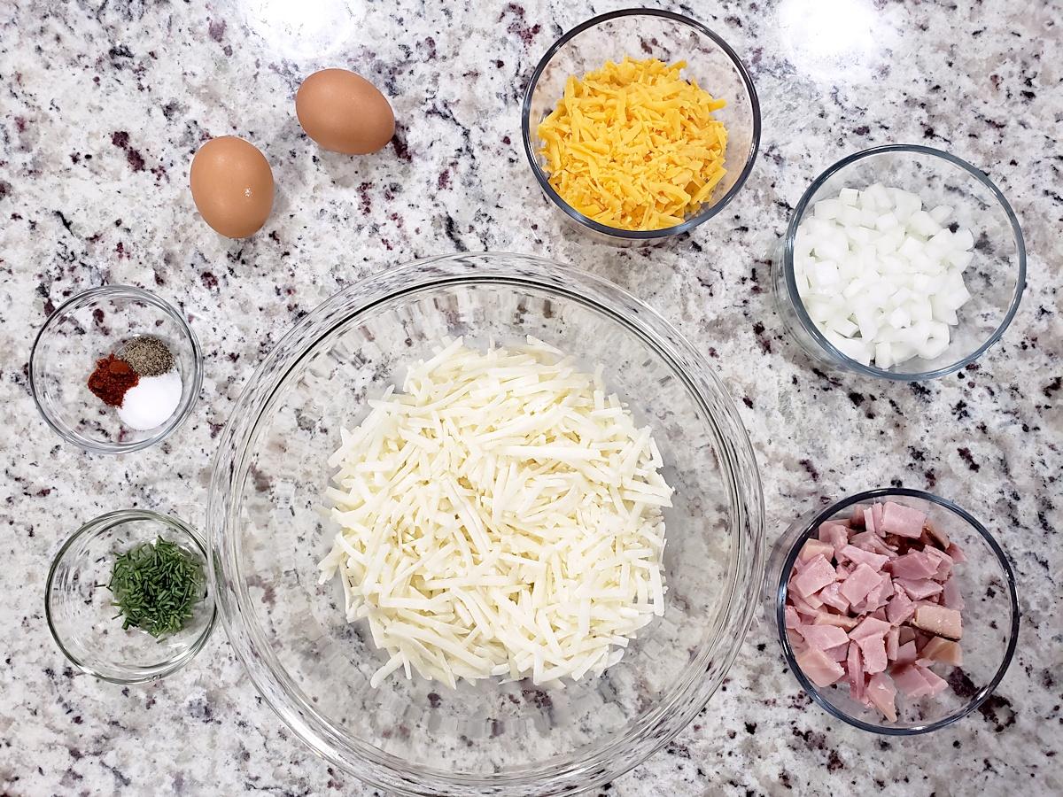 Ingredients for hash brown waffles.