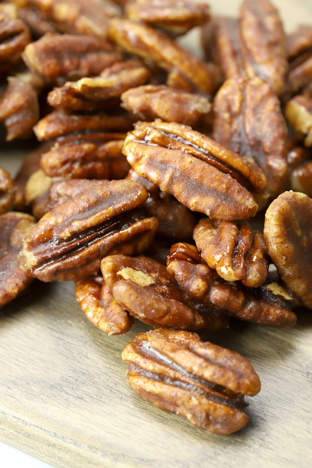 Close up of candied pecans.