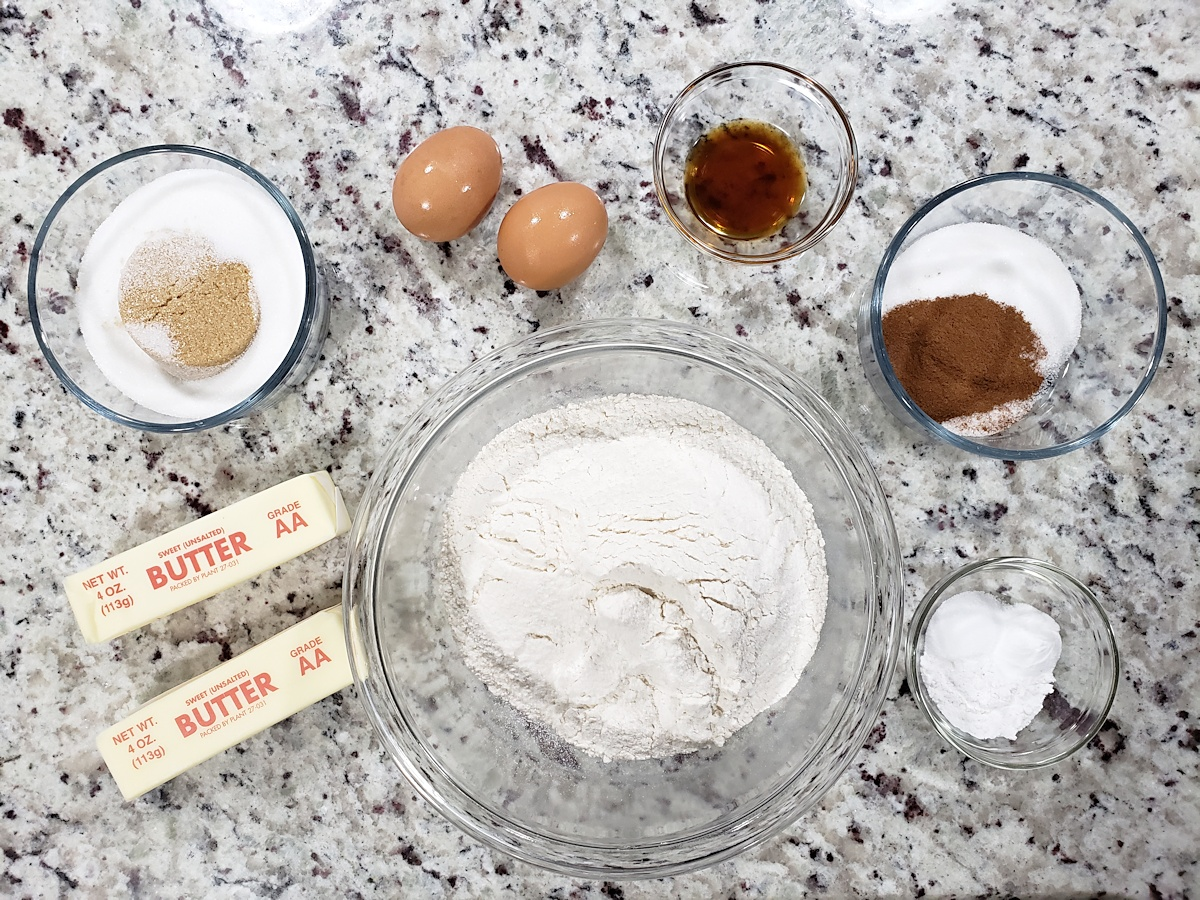 Ingredients for snickerdoodle cookies.