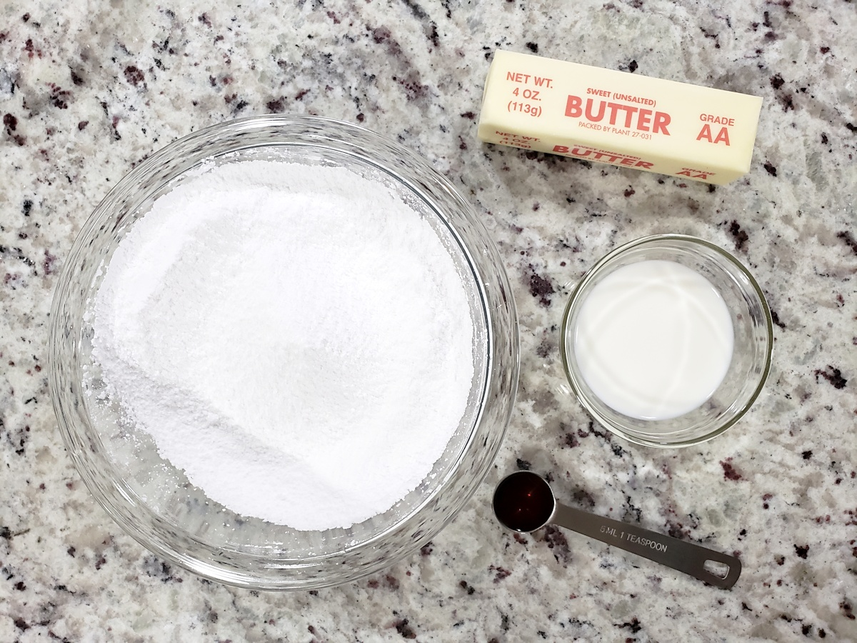 Ingredients for whipped buttercream filling.