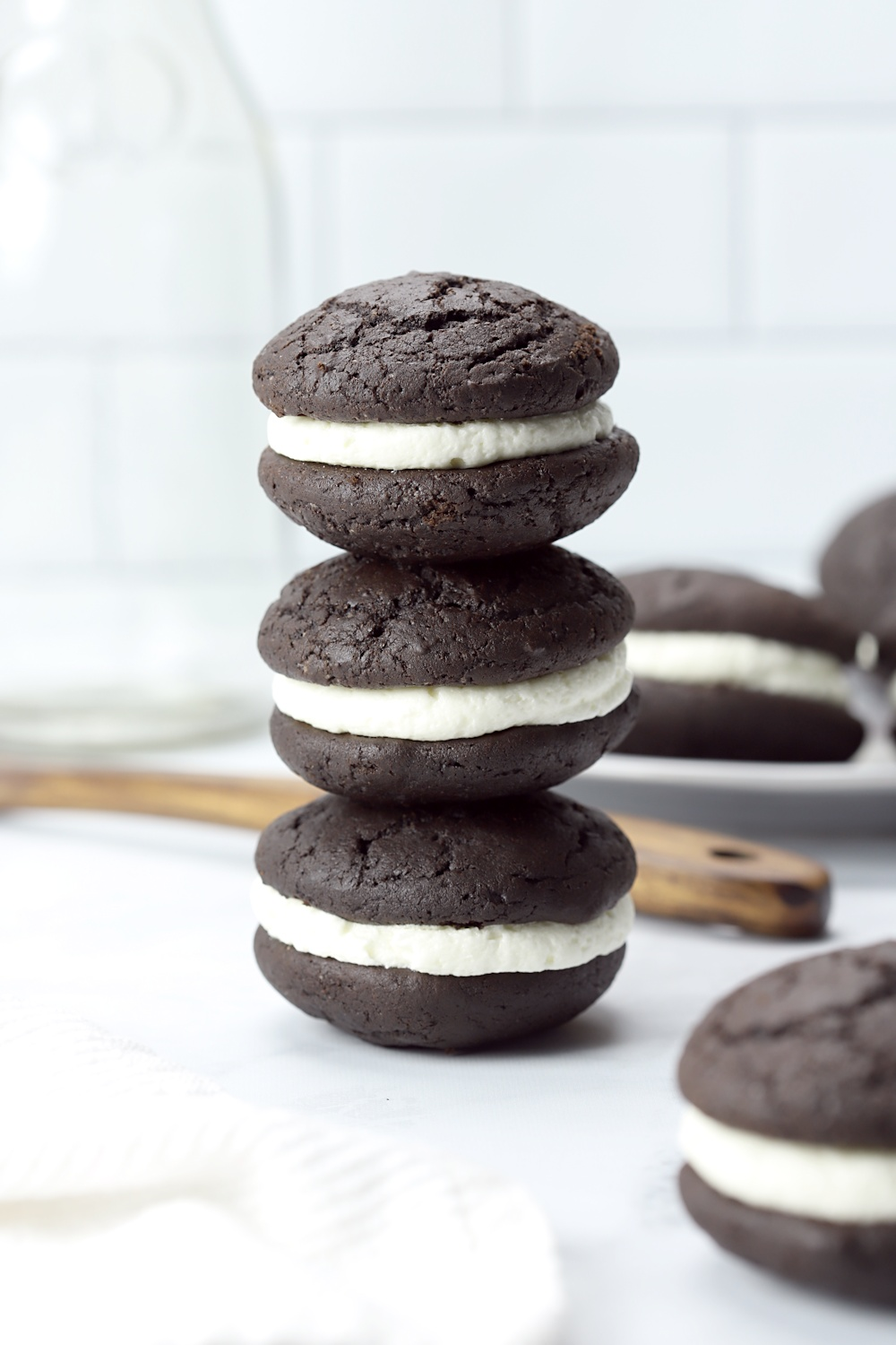 A stack of three whoopie pies.
