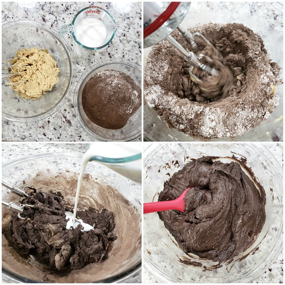 Adding cocoa and other dry ingredients to cookie dough.