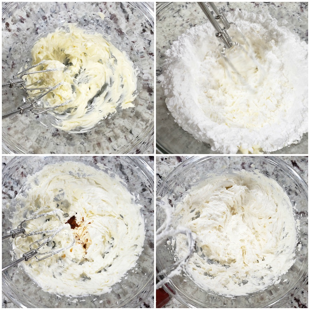 Making whipped buttercream filling for cookies.