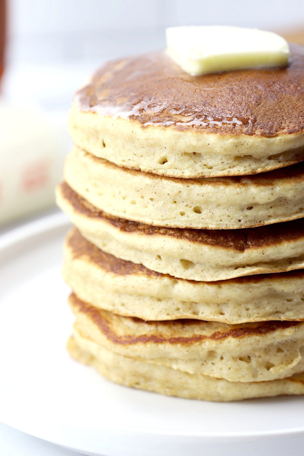 Close up of the sides of cooked pancakes.