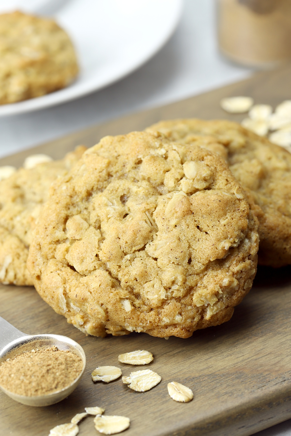Close up of texture of an oatmeal cookie.