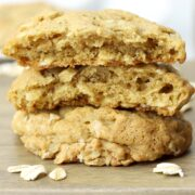A chai spiced oatmeal cookie broken in half to reveal a chewy center.