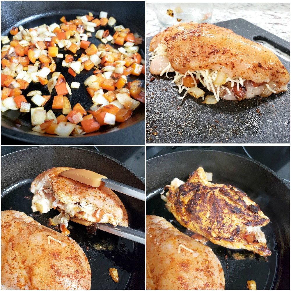 Stuffing chicken breasts with onions and peppers and cooking on the stove.