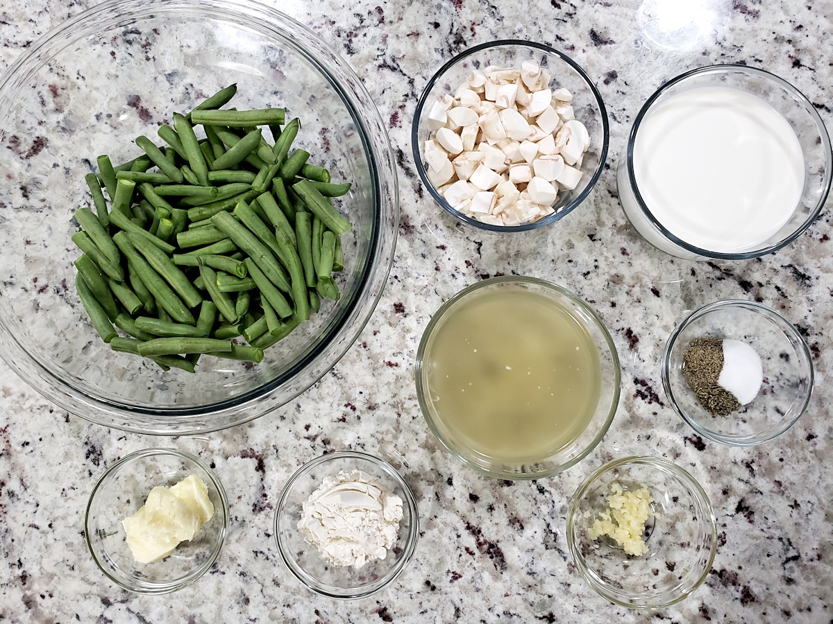 Ingredients to make green bean casserole.